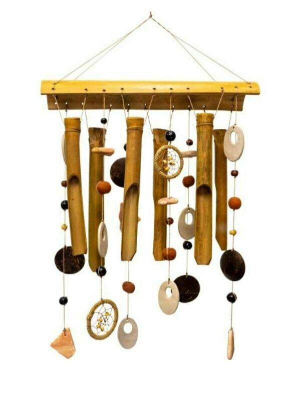 Bamboo & Ceramic Windchime Earthly Treasures Medley