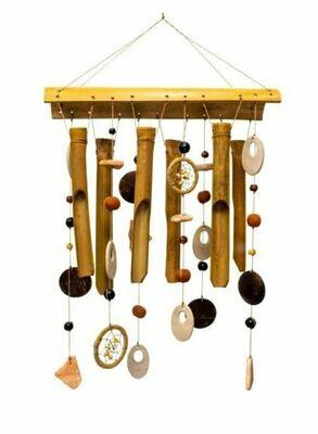 Bamboo & Ceramic Windchime Earthly Treasures Medley