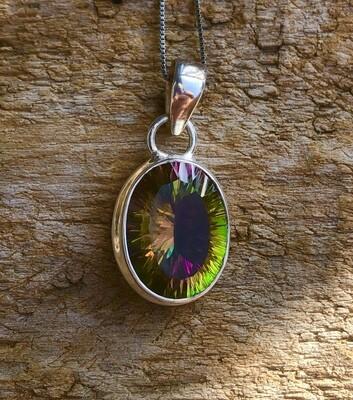 Rainbow Mystic Topaz Pendant Necklace