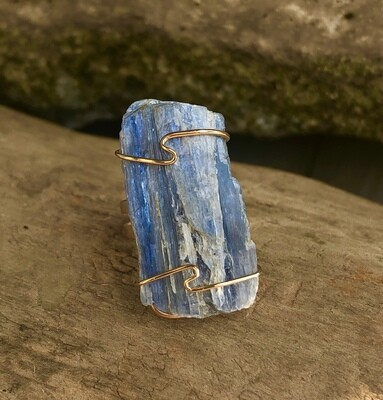 Raw Blue Kyanite Wire Wrapped Ring