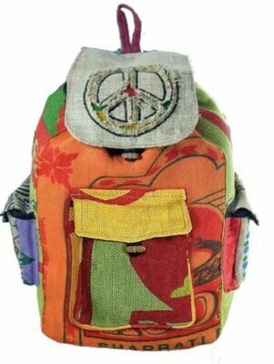 Peace Sign Jute Backpack Nepal