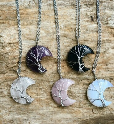 Silver Wire Wrapped Crescent Moon Tree of Life Pendant