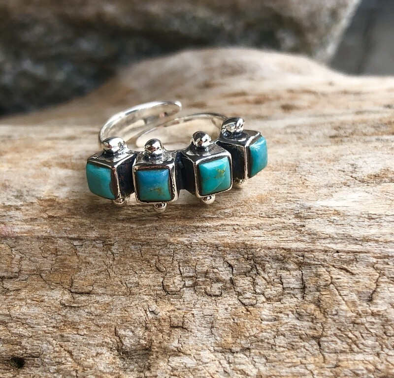 Sterling Silver Mohave Turquoise Square Ring 6 Adjustable