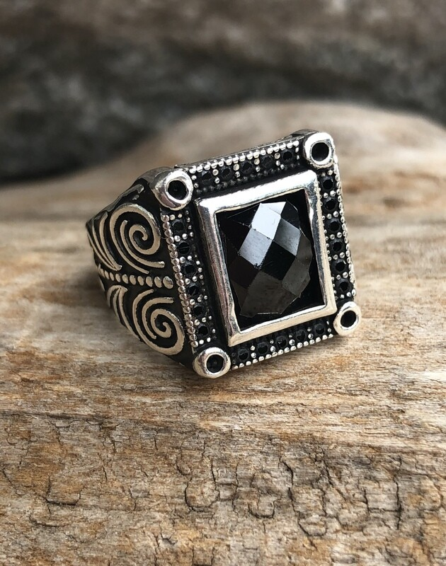Sterling Silver Black Onyx and Topaz Square Ring 9