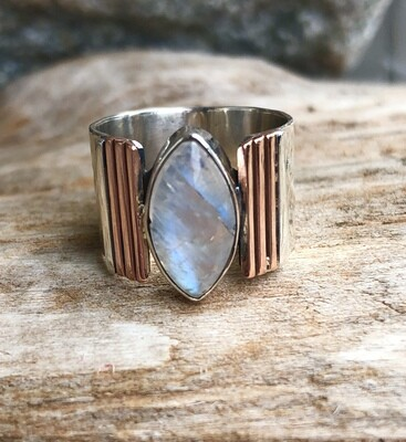 Sterling Silver Rainbow Moonstone and Rose Gold Ring 6.5