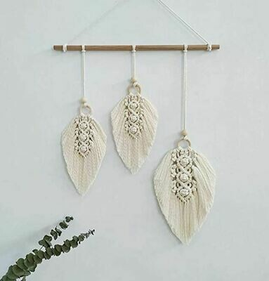 Woven Macrame Feather Wall Hanging