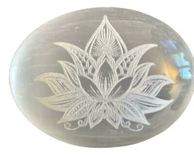 Selenite Engraved Palm Stones
