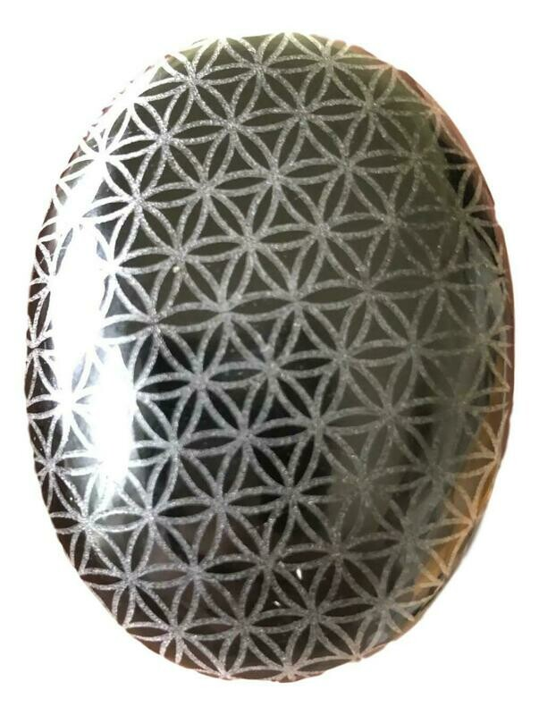 Flower of Life Engraved Obsidian Palm Stone