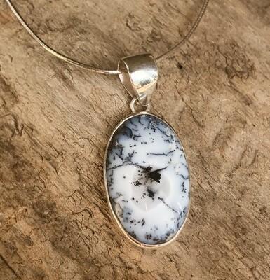 Scenic Dendrite Oval Pendant Necklace