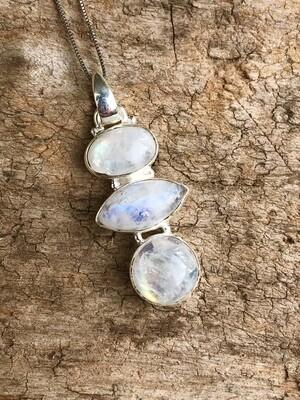 Triple Moonstone Pendant Necklace