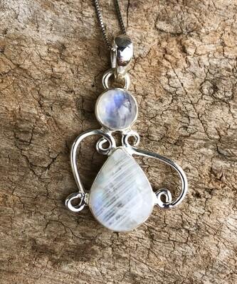 Rainbow Moonstone Swirl Pendant Necklace