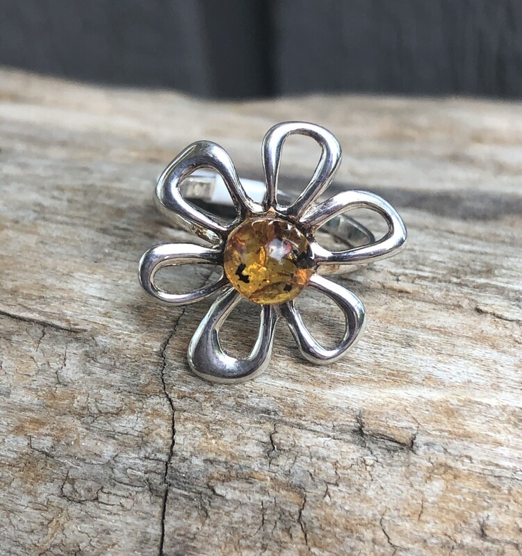 Sterling Silver Baltic Amber Flower Ring