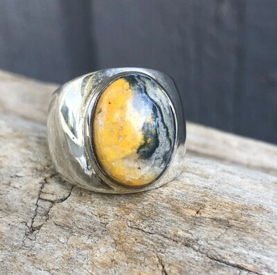 Bumblebee Jasper Statement Ring Size 9