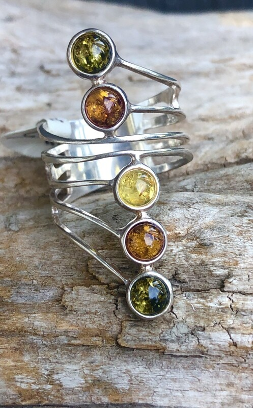 Colorful Amber Layered Gemstone Ring Size 9