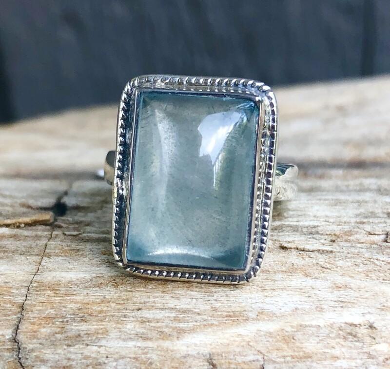 Large Aquamarine Gemstone Statement Ring Size 9