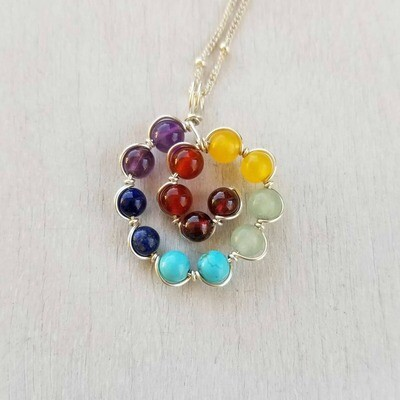 Chakra Collection Seven Chakra Spiral Necklace
