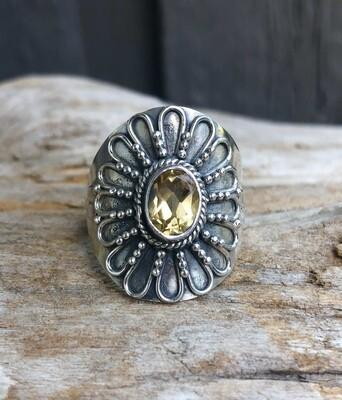 Yellow Topaz Flower Ring Size 9