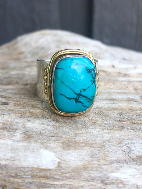 Two Tone Turquoise Ring Size 8