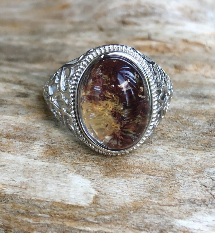 Oval Shaman Stone Silver Ring Adjustable