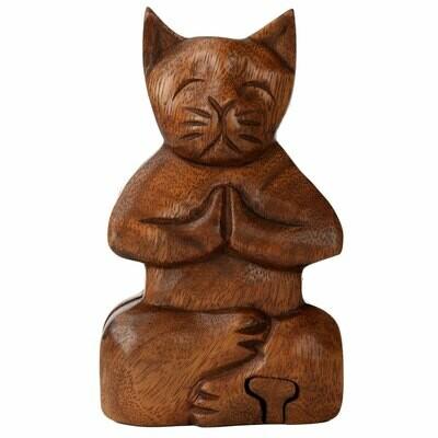 Meditating Cat Puzzle Box