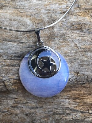 Moon and Star Orbit Pendant Necklace