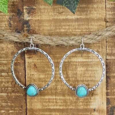 Turquoise Teardrop & Hammered Silver Round Earring