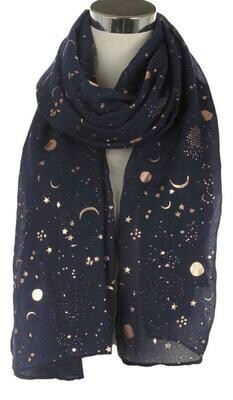Black Celestial Moon and Stars Scarf
