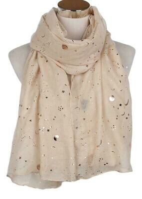 Beige Celestial Star and Moon Scarf