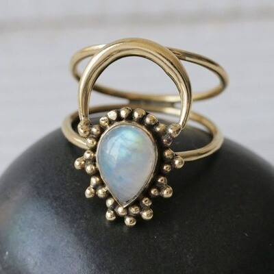 Tear Drop Moonstone Aura Ring