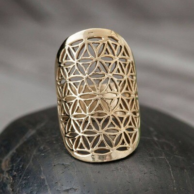 Brass Flower of Life Ring Gold
