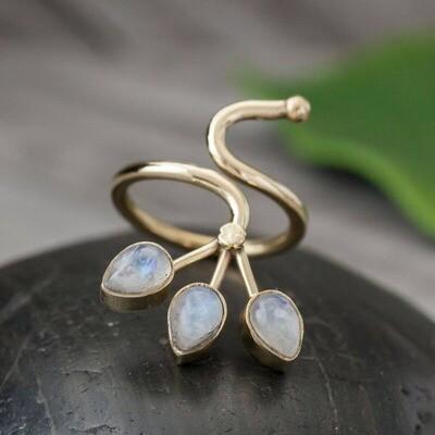 Rainbow Moonstone Triple Blossom Ring