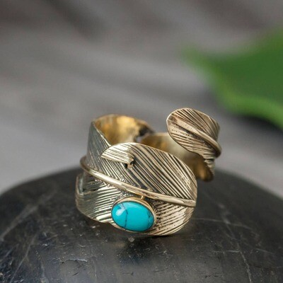 Brass & Turquoise Feather Ring