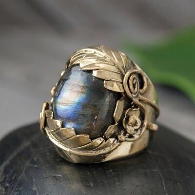 Large Brass Labradorite Ring