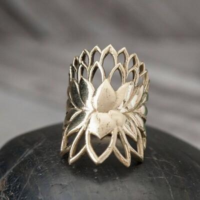 Brass Lotus Layers Ring