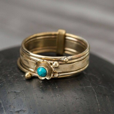Brass Turquoise Stack Ring