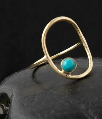 Brass Open Circle with Turquoise Ring