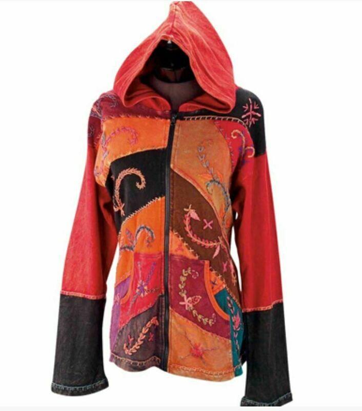 Orange Wheat Embroidered Hoodie Jacket