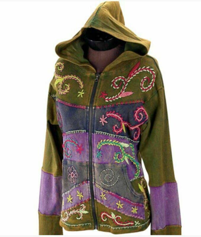 Boho Green Floral Stitch Hoodie Jacket