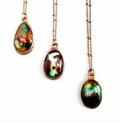 Rainbow Agate Copper Pendant Necklace