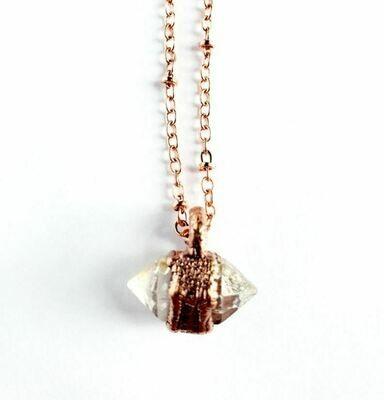 Petite Herkimer Diamond Copper Necklace