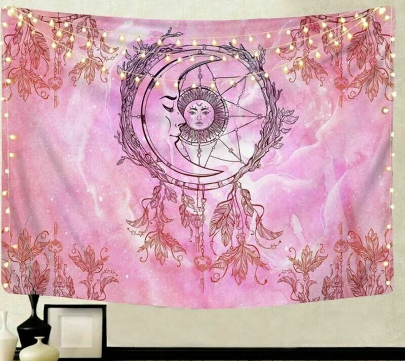 Moon Feathers Bohemian Tapestry 79