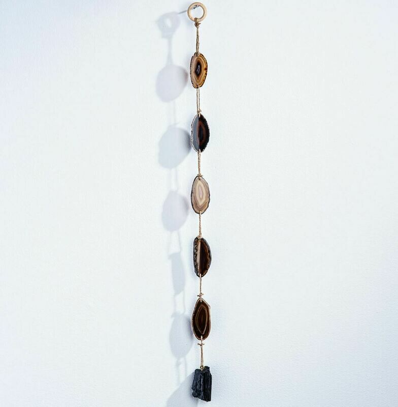 Black Agate Wall Hanging with Tourmaline 24