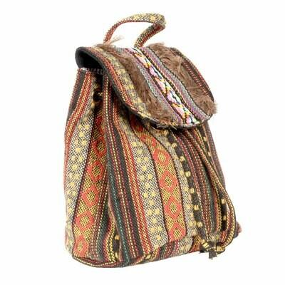 Small Gold Fringe Nepali Backpack