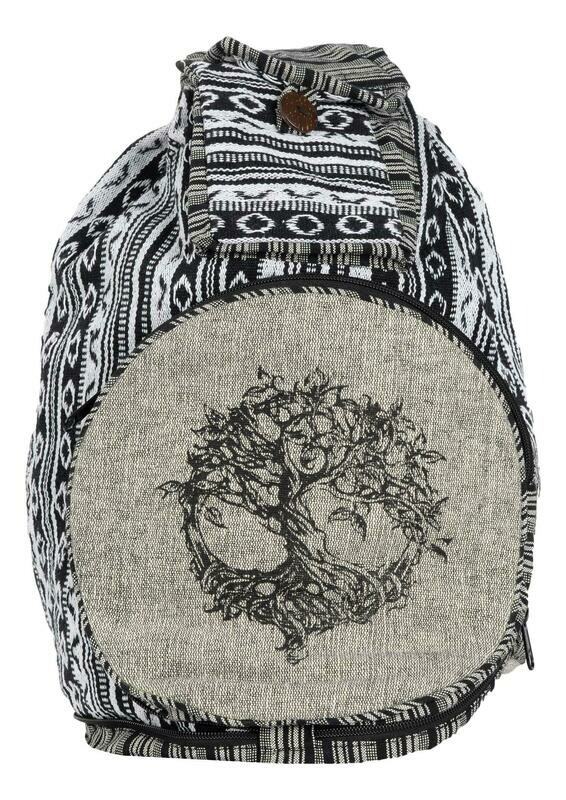 Black & White Convertible Backpack Tree of Life