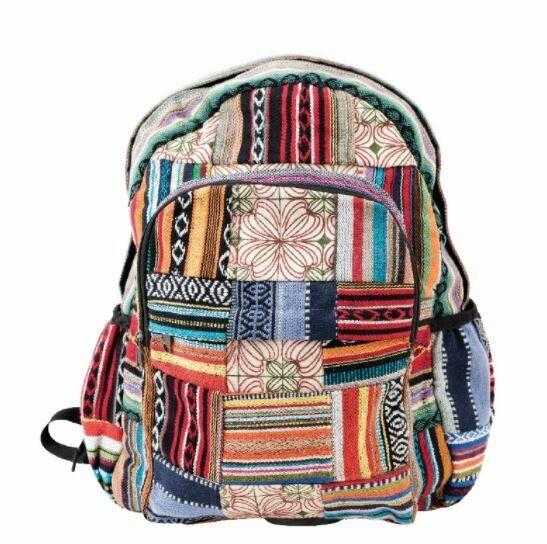 Stripes & Patchwork Nepali Backpack