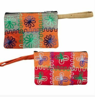 Embroidered Micro Suede Nepali Coin Purse