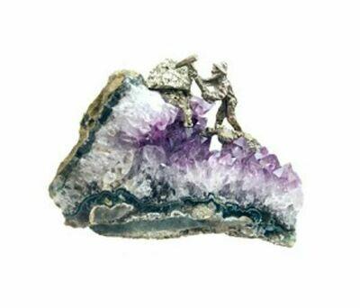 Miner on Amethyst Cluster Figurine