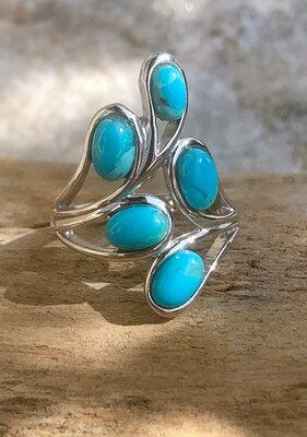Sterling Silver Mohave Turquoise Cluster Ring Size 6