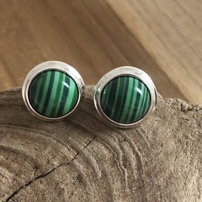 Sterling Silver Round Malachite Stud Earrings
