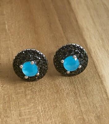 Aqua Chalcedoney Topaz Stud Earrings